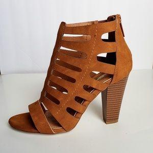 DBDK Fashion Camel Caged Open Toe Rear Zip Heels